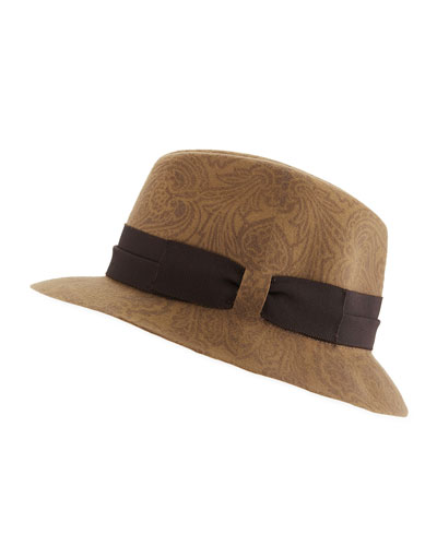 Men's Paisley-Print Wool Fedora Hat
