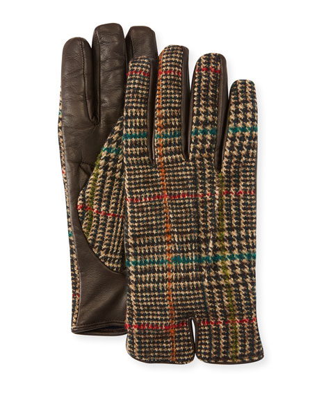 Men'S Plaid-Back Leather Gloves, Brown Pattern