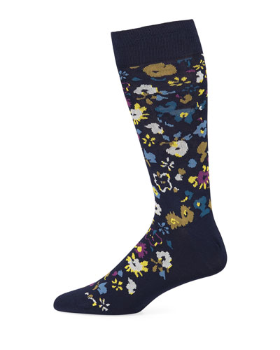 Men's Decoupage Floral Cotton-Blend Socks