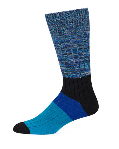 Men's Quad-Block Cotton-Blend Socks