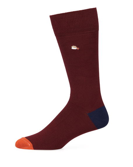 Paul Smith Men's Embroidered Food Cotton-Blend Socks