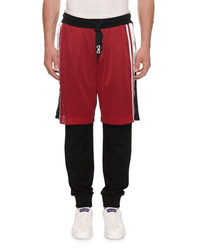 Men's Jogger Pants with Basketball Shorts