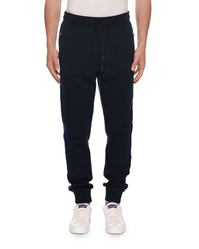 Men's Two-Tone Velvet Jogger Pants