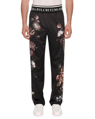 Men's Floral Cherub Satin Jogger Pants