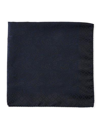 Tonal Paisley Silk Pocket Square