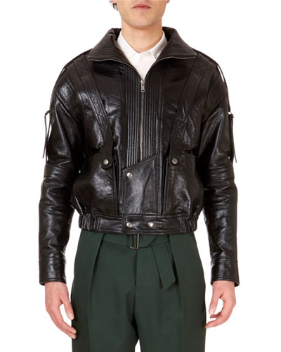 Men's Zip-Front Calf Leather Jacket w/ Straps on Sleeves