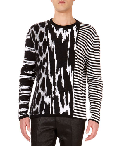 Men's Animal-Intarsia Striped Crewneck Wool Sweater