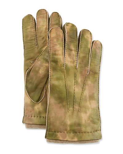 Men's Three-Cord Lamb Leather Gloves w/ Cashmere Lining