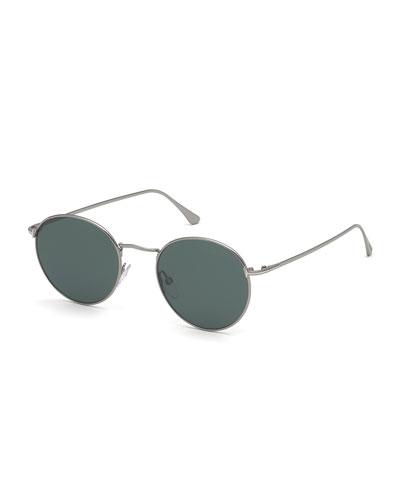 Men's Ryan Round Metal Sunglasses - Light Ruthenium/Dark Teal