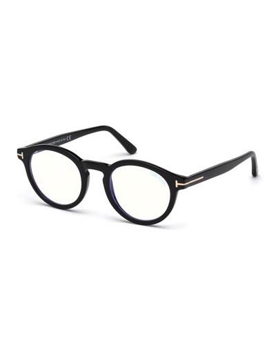 Men's Blue Light-Blocking Round Acetate Optical Glasses