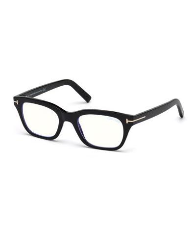 Men's Blue Light-Blocking Rectangle Acetate Optical Frames
