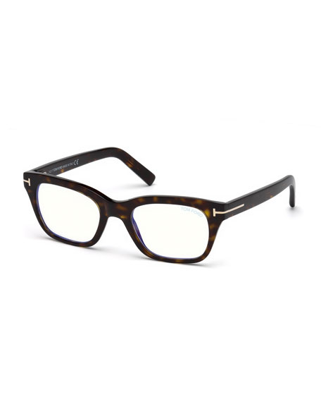 TOM FORD Men's Blue Light-Blocking Rectangle Acetate Optical