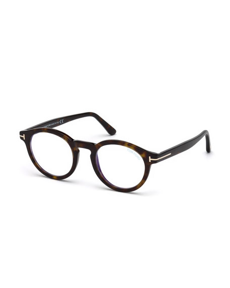 TOM FORD Men's Blue Light-Blocking Round Acetate Optical