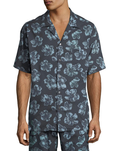 Men's Floral Cuban Short-Sleeve Shirt