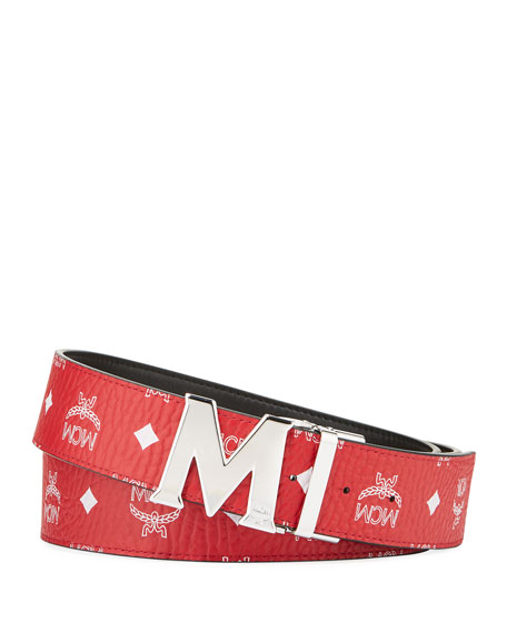 5bf66d0a1aa8 MCM Men s Claus Reversible Visetos Logo-Buckle Belt