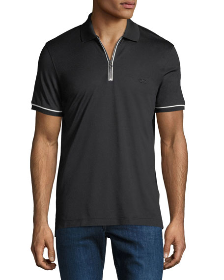 Men's Tipped Zip-Up Polo Shirt