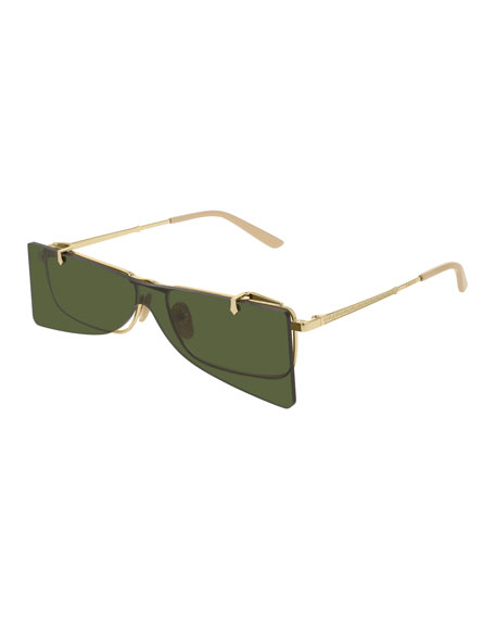 Gucci Men's Rectangle Clip-On Metal Sunglasses