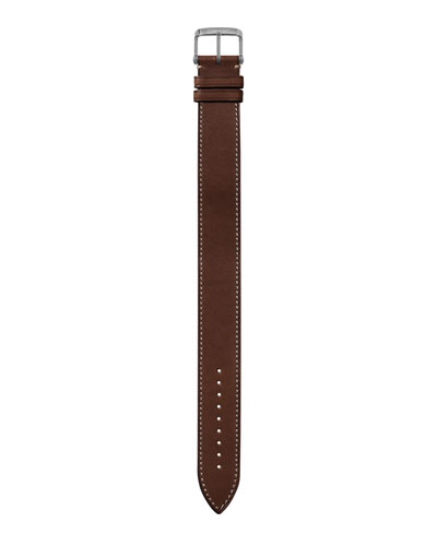 Men's 21mm Large Smooth Leather Watch Strap
