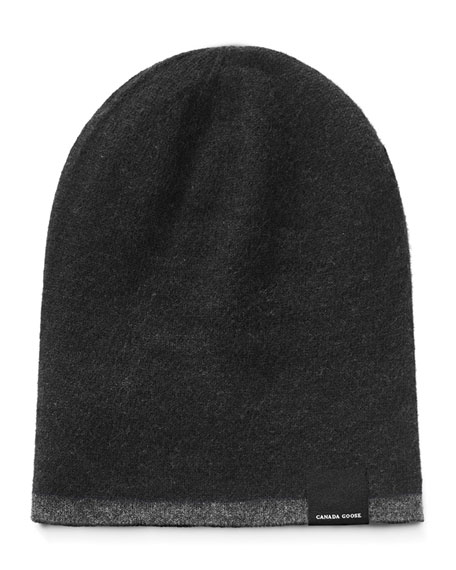 Men'S Reversible Wool Toque Beanie Hat, Black