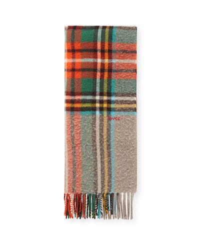Men's Multicolor Plaid Wool Scarf