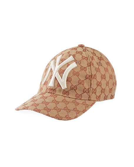 5c85660867867 Gucci Men s Logo-Print Baseball Cap with New York Yankees Applique