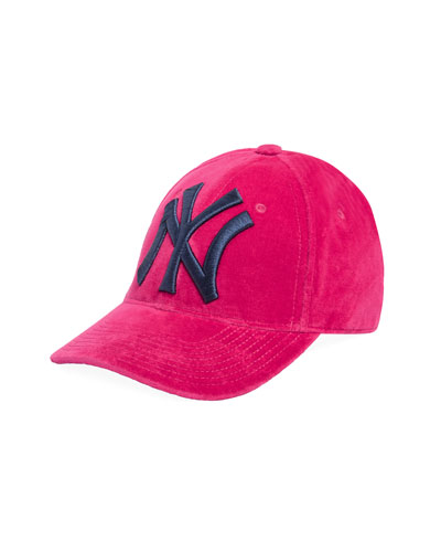 Men's Velvet Baseball Cap with NY Yankees Applique
