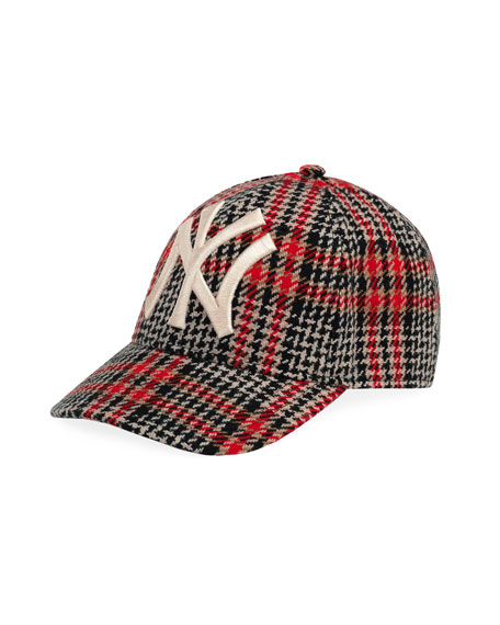6166ce77e46 Gucci Men s Houndstooth Baseball Cap with NY Yankees