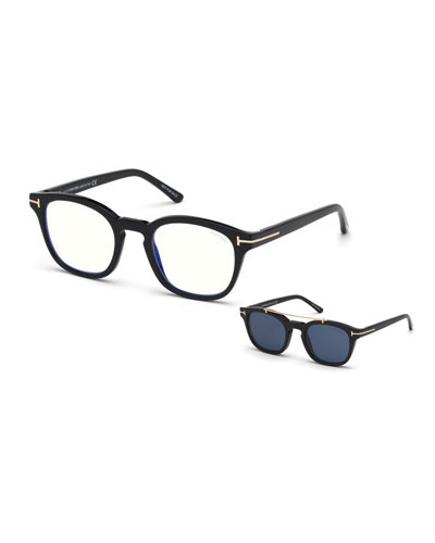 Men's Square Optical Glasses w/ Clip on Blue Block Lenses