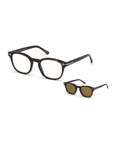 Men's Square Optical Glasses w/ Magnetic Clip On Blue Block Lenses