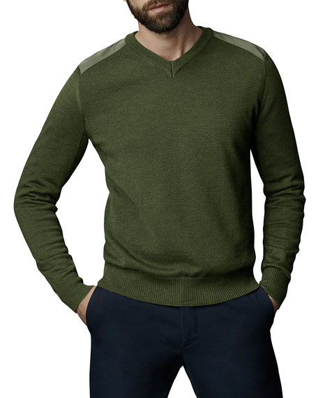Canada Goose McLeod V-Neck Sweater w/ Nylon Shoulders
