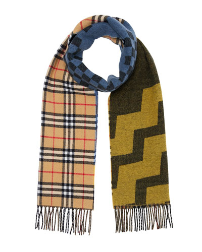 Men's Colorblock Checkerboard Wool/Cashmere Scarf