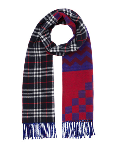Men's Zigzag Check Wool/Cashmere Scarf