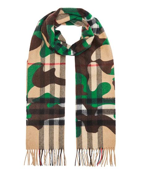 164d09f45055 Burberry Men s Camo Check Cashmere Scarf