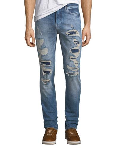 Men's Axl Ripped Stretch-Denim Skinny Jeans