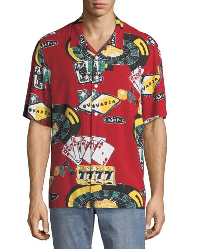 Men's Casino Graphic Short-Sleeve Beach Shirt
