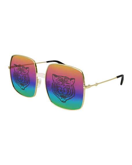 Gucci Men's Angry Cat Rainbow Square Sunglasses