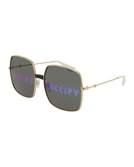 Men's GUCCIFY Hologram Square Sunglasses