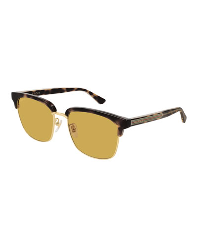 Men's GG0382S001M Half-Rim Mirrored Sunglasses