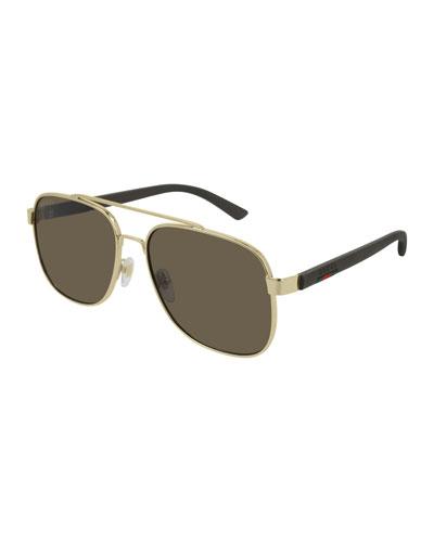 Men's GG0422S003M Aviator Sunglasses