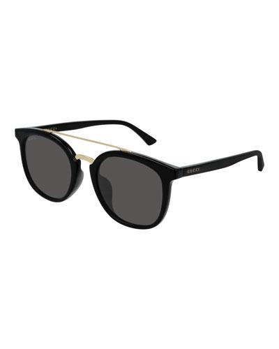 Men's GG0403SA001M Round Keyhole Sunglasses