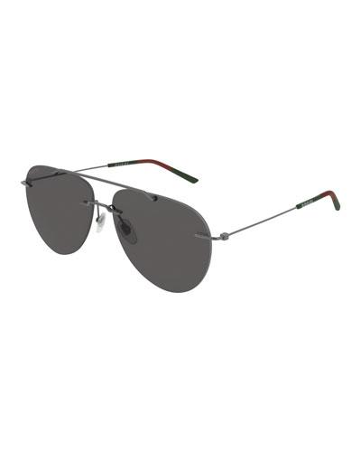 Men's GG0397S001M Metal Aviator Sunglasses