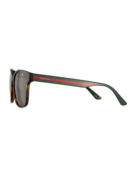 4e566d2e4c Gucci Men s Square Tortoise Acetate Sunglasses with Signature Web
