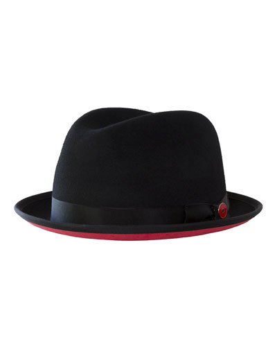 Men's Prince Red-Brim Wool Fedora Hat  Black