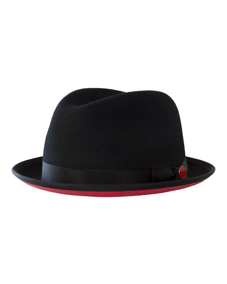 Men's Prince Red-Brim Wool Fedora Hat, Black