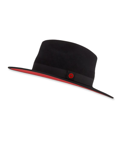 Queen Red-Brim Wool Fedora Hat  Black