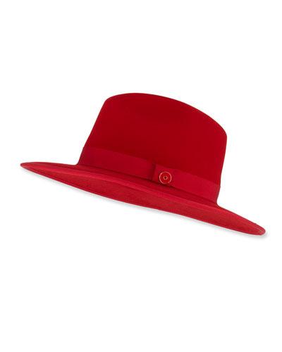 Men's Queen Red-Brim Wool Fedora Hat  Rose