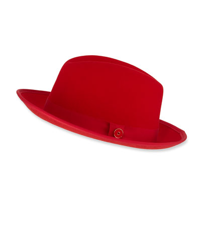 Men's King Red-Brim Wool Fedora Hat  Rose