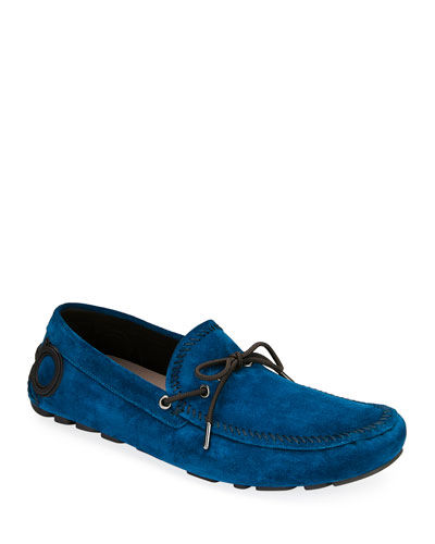 Men's Atlante Suede Drivers with Gancini Heel
