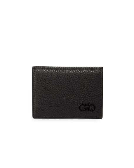 Salvatore Ferragamo Men's Firenze Pebbled Leather Card Case