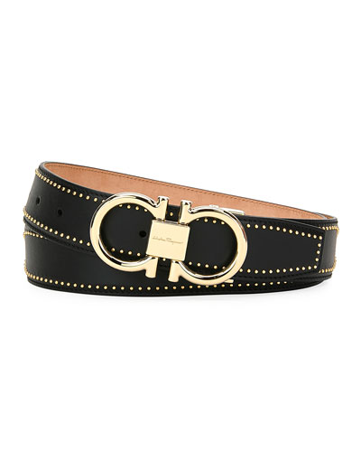Men's Leather Belt with Studs